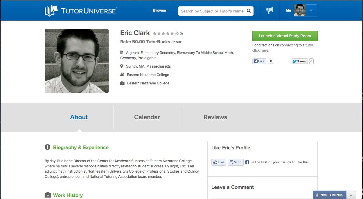 Eric's Tutor Universe profile.